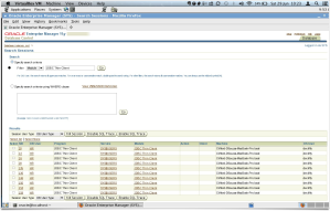 Oracle Enterprise Manager screen of connections
